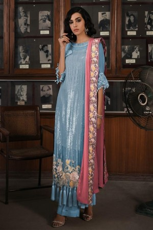 Light Blue Faux Georgette Salwar Kameez