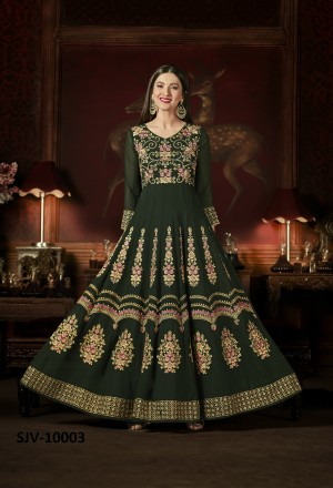 Enticing Dark Green Faux Georgette Heavy Embroidery  semi stitched salwar suit