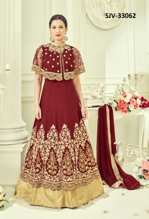 Fantastic Maroon Fox georgette with net pocho Heavy Embroidery  semi stitched salwar suit