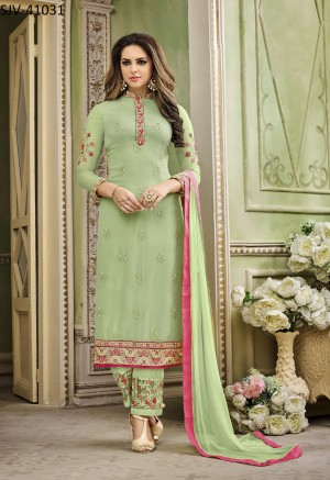 Dazzling Pista Faux Georgette Heavy Embroidery  semi stitched salwar suit