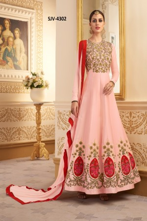 Engrossing PeachPure Muslim silkHeavy Embroidery  semi stitched salwar suit