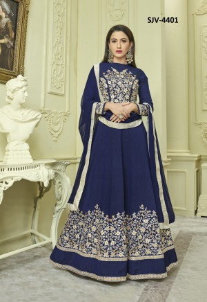 Classic Navy Blue malburry with fusing Heavy Embroidery  semi stitched salwar suit