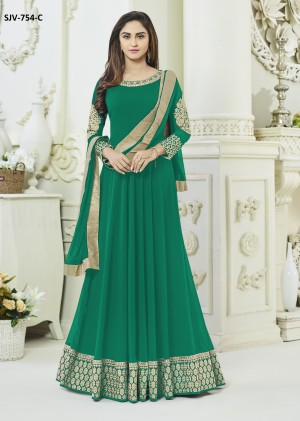 Modish Green Semi Georgette Heavy Embroidery  semi stitched salwar suit