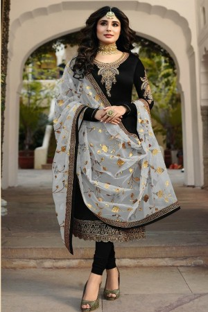 Black Satin Georgette Salwar Kameez