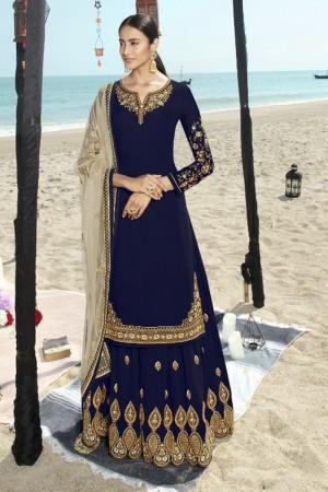 Navy Blue Faux Georgette Salwar Kameez