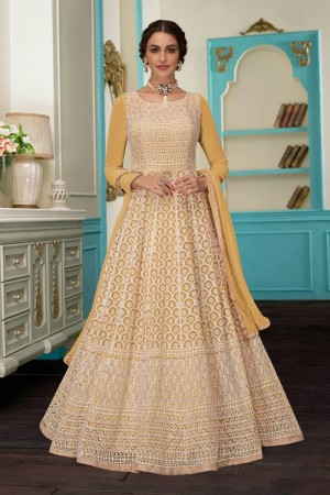 Yellow Faux Georgette Salwar Kameez