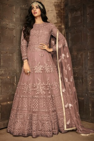 Light Coffee Net Salwar Kameez