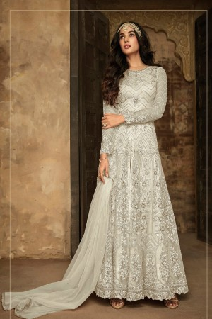 Off White Net Salwar Kameez