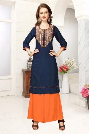 Delightful Blue Rayon Embroidered Kurti