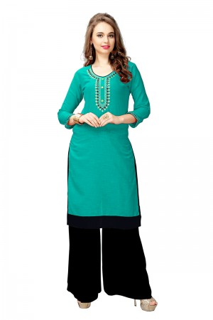 Dazzling Rama Slub Cotton Embroidered Kurti