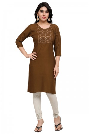 Exuberant Coffee Rayon Embroidered Kurti