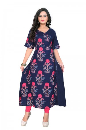 Adorable Blue Rayon Printed Kurti