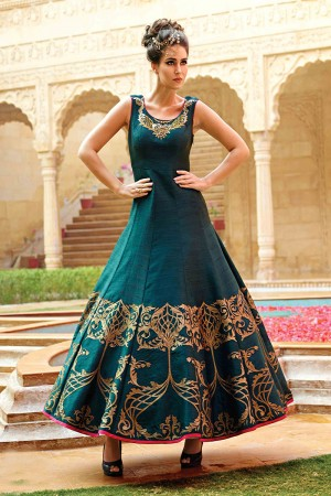 Dark Green Banglori And Bhagalpuri Handwork Suit