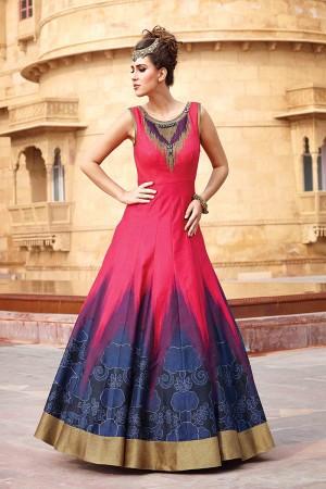 Pink Blue Banglori And Bhagalpuri Handwork Suit