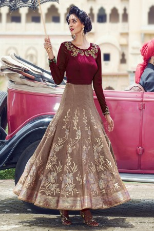 Maroon Chicku Scuba and Jacquard Handwork Suit