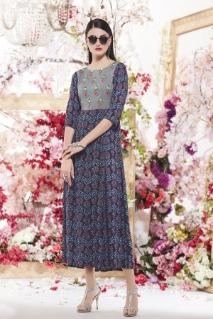 Refreshing Blue Reyon print with embroidery Kurti