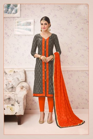 Dazzling Grey Chanderi cotton Heavy Embroiery Dress Material