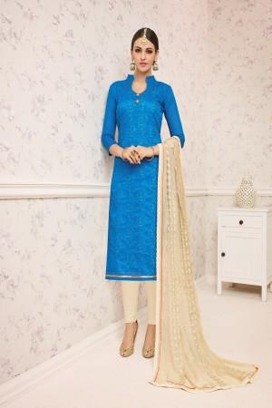 Elegant Sky Blue Chanderi cotton Heavy Embroiery Dress Material