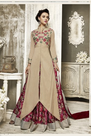 Modish Cream Tapeta Silk  With Heavy Emboridery Anarkali Salwar Suit
