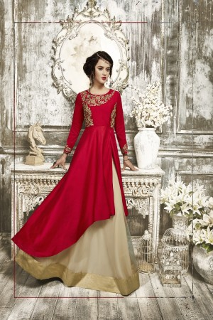 Bedazzling red Tapeta Silk  With Heavy Emboridery Anarkali Salwar Suit