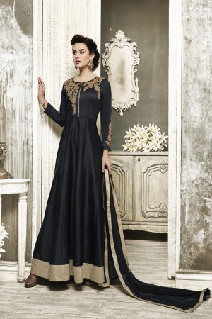 Voguish Black Tapeta Silk  With Heavy Emboridery Anarkali Salwar Suit