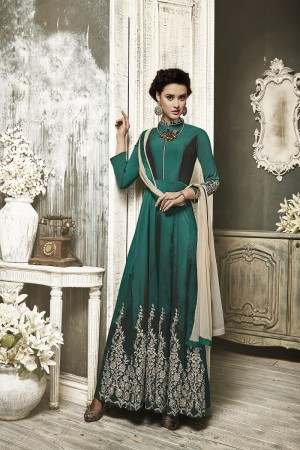 Attractive Green Tapeta Silk  With Heavy Emboridery Anarkali Salwar Suit