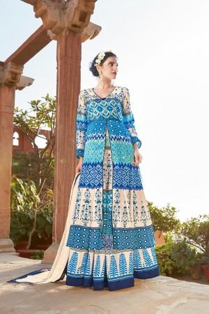 Angellic Multicolor japan satin printed Anarkali Gown