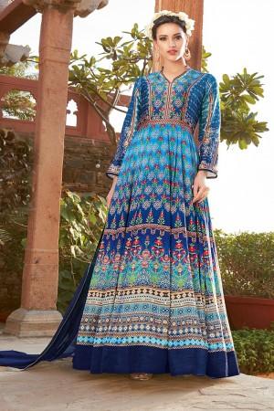 Distinctive Multicolor japan satin printed Anarkali Gown