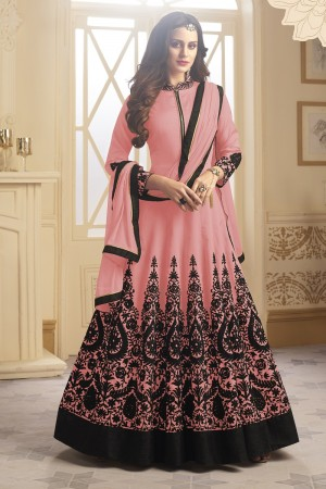 Designer Peach Tapeta Silk  With Emboridery And Handwork Anarkali Salwar Suit