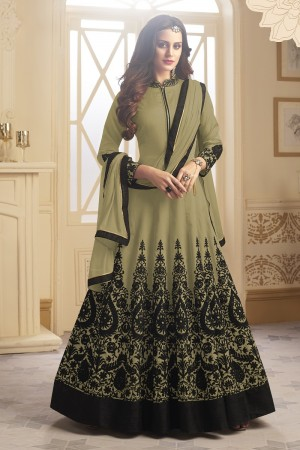 Beguiling Mehendi Tapeta Silk  With Emboridery And Handwork Anarkali Salwar Suit