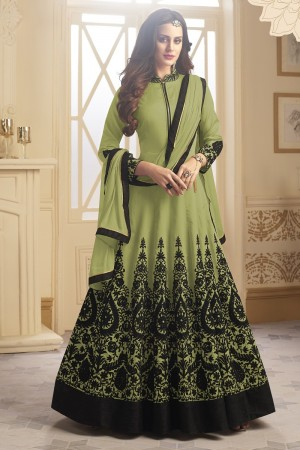 Enriching Light Green Tapeta Silk  With Emboridery And Handwork Anarkali Salwar Suit