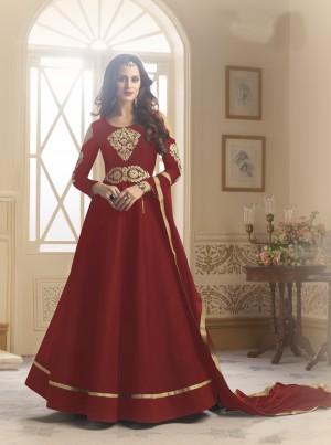 Fantastic Red Tapeta Silk  With Emboridery And Handwork Anarkali Salwar Suit