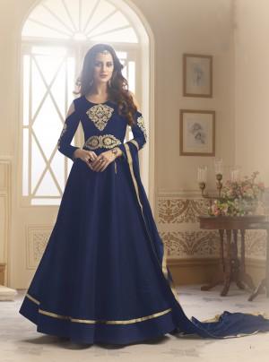 Majestic Blue Tapeta Silk  With Emboridery And Handwork Anarkali Salwar Suit