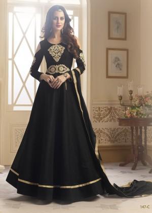 Glossy Black Tapeta Silk  With Emboridery And Handwork Anarkali Salwar Suit