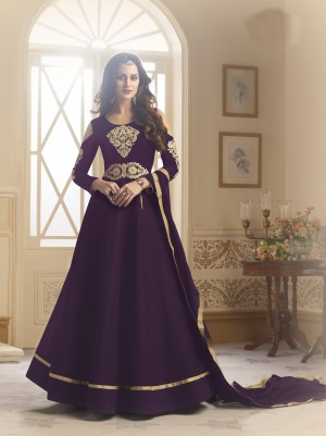 Sensuous Purple Tapeta Silk  With Emboridery And Handwork Anarkali Salwar Suit