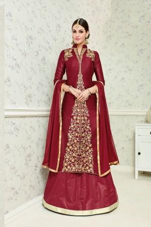 Stupendous Maroon Glass Cotton  Heavy Embroidery salwar Kameez