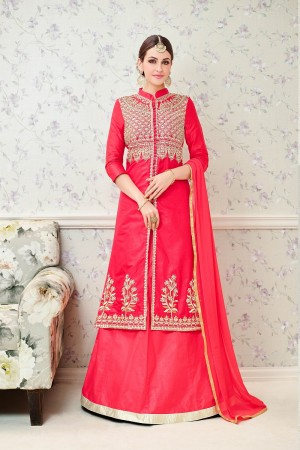 Mind Blowing Pink Glass Cotton  Heavy Embroidery  salwar Kameez