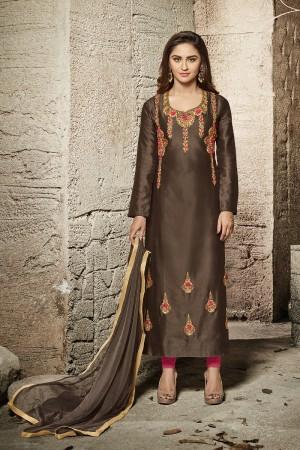 krystle dsouza Brown Glass Cotton  Heavy Embroidery salwar Kameez