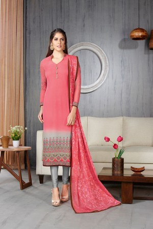 Pink&Grey Georgette Zari Resham Embroidery With Stone Work And Lace Border