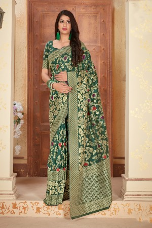 DarkGreen Banarasi Silk  Saree with Blouse