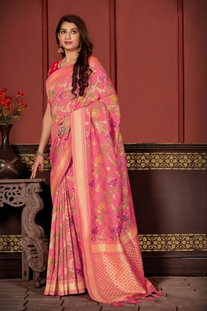 Pink Banarasi Silk  Saree with Blouse
