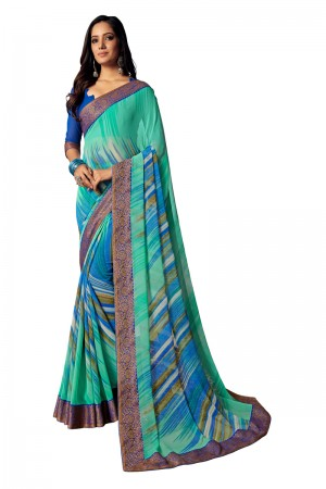 Rama Georgette Saree with Blouse