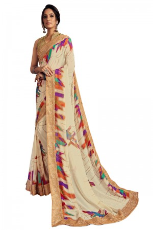 Offwhite Georgette Saree with Blouse