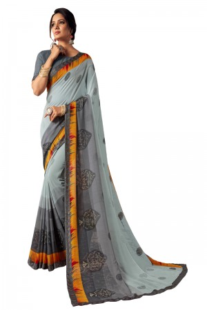 Mint Georgette Saree with Blouse
