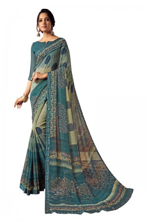 Teal Georgette Saree with Blouse
