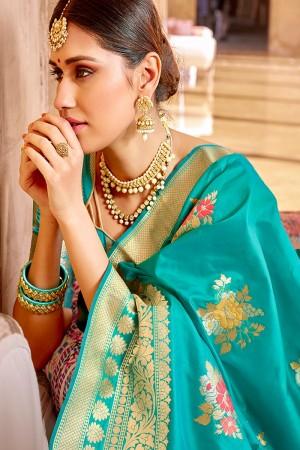 Rama Banarasi Silk Saree with Blouse