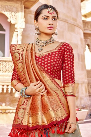 Grey&Mehendi Banarasi Silk Saree with Blouse