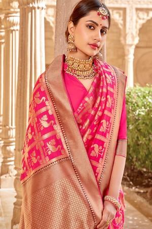 HotPink Banarasi Silk Saree with Blouse
