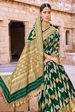 DarkGreen Banarasi Silk Saree with Blouse
