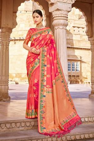 DarkPeach Banarasi Silk Saree with Blouse